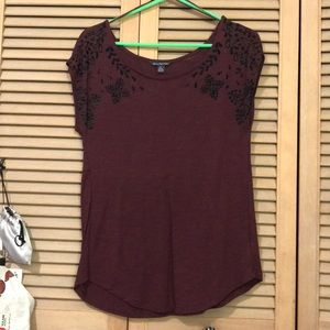 Maroon top with floral velvet design